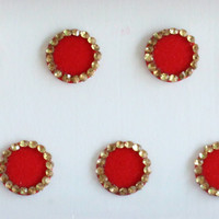 9 mm Red Plain Fancy Round Bindis,Round Bindis,Velvet Red Bindis,Red Round Face Jewels Bindis,Bollywood Bindis,Self Adhesive Stickers Pack