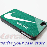 Nike Just Do It Glitter Green for iPhone 4/4S/5/5S/5C Case, Samsung Galaxy S3/S4 Case, iPod Touch 4/5 Case