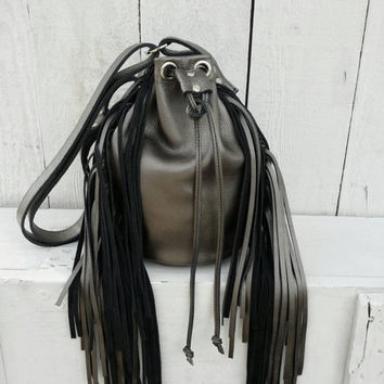 Grey Leather Fringe Bucket Bag / Leather Fringe Backpack / Gray  Leather Bucket Bag / Gray Leather Backpack / Grey Leather Purse