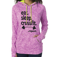 Fitness & Exercise Clothing - Eat Sleep Crossfit Repeat Contrast Hooded Fleece - Ladies