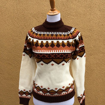 Vtg Nordic Sweater brown orange yellow White Long Sleeves Small Medium cozy knit fall