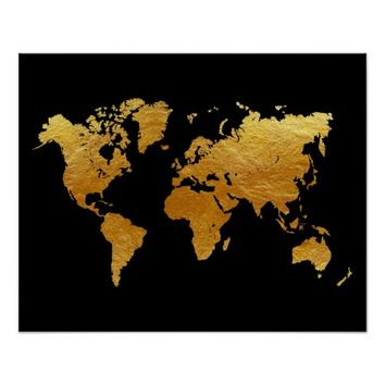 Best gold world map poster products on wanelo black and gold world map poster gumiabroncs Gallery