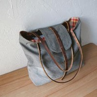 Tote in Olive Gray Canvas by infusion on Etsy
