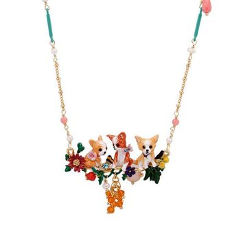 Lovely Three puppies choker necklace for women enamel glaze cute Chihuahua dog flower bead pendant necklaces fashion jewelry