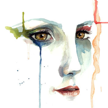 Watercolor painting of sad girl crying. painting of girl watercolor eyes with dripping paint dripping tear drops print of girl