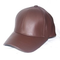 100% Genuine Premium Leather Dark Brown Baseball Hat Cap