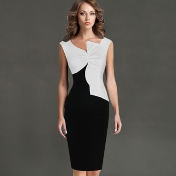 Vfemage Womens Asymmetric Neck Fashion Novelty Ruched Cap Sleeve Slim Casual Wear to Work Office Party Bodycon Pencil Dress 2083