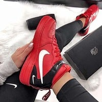 NIKE Air Force 1 New fashion hook print high top couple shoes Red