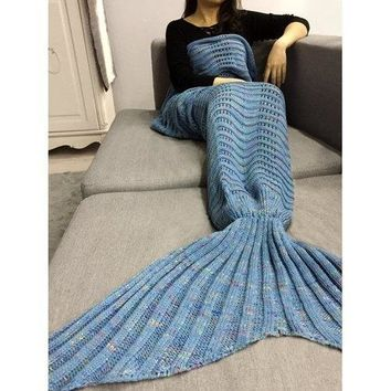 Hollow Out Wave Striped Crochet Knit Mermaid Blanket Throw - Light Blue