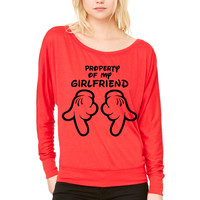 property of my girlfriend WOMEN'S FLOWY LONG SLEEVE OFF SHOULDER TEE