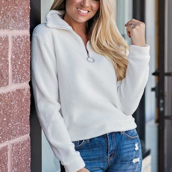 Snowball Fights Quarter Zip Pullover : White