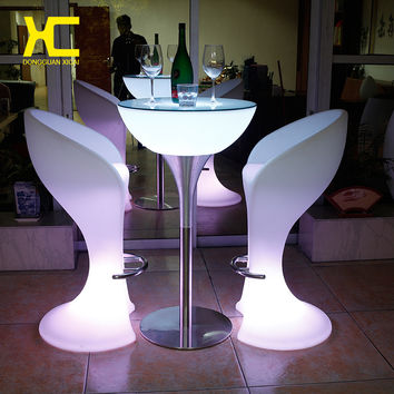 Luminous Bar Stool Cocktail Table Color Changing Furniture Set