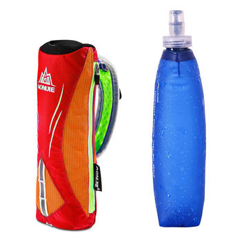 AONIJIE Marathon Handheld Hydration Pack Soft Kettle Holder Outdoor Sports Bag Hiking Running Hand Hold Bag + 500ml Soft Kettle