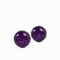 Stud Earrings, Purple Glitter, Sterling Silver, Handmade Jewelry, Accessories