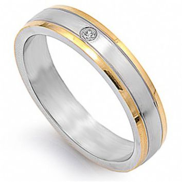 Unisex 5mm 14k Gold Lined Stainless Steel Wedding Band