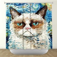 DiaNoche Designs Shower Curtains by Arist Aja-Ann Unique, Cool, Fun, Funky, Stylish, Decorative Home Decor and Bathroom Ideas - Vincent Van NO