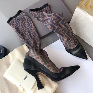 shosouvenir Fendi Black stitching coffee FF letter  mesh high heel and high tube boots