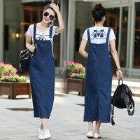 New fashion women ladies Long denim strap solid jean dress loose fitting sleeveless long overalls dungarees