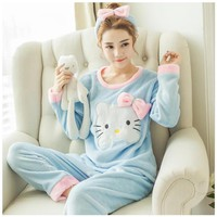 Autumn Winter Women Pajamas Full Sleeve Flannel Cute Hello Kitty Pajamas Sets Casual Thick Sleepwear Pullovers