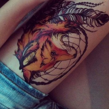 2017 21 X 15 CM Yellow Fox and Feather Cool Beauty Tattoo Waterproof Hot Temporary Tattoo Stickers