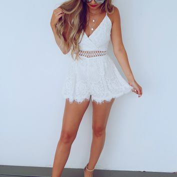 Find Your Sweetness Romper: White