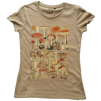 Women's Organic T-shirt Vintage Mushrooms Illustration
