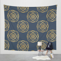 Nights in Blue and Gold Wall Tapestry by Heaven7