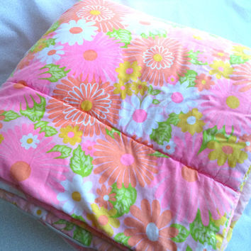 Festival sleeping bag/ vintage sleeping bag/ pink hippie flower sleeping bag/ vintage camping