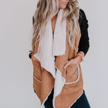City Games Corduroy Faux Fur Vest - Camel
