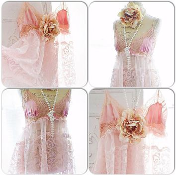 French Market Tunic, Shabby cottage chic Paris Pink lace cami, Bohemian chic lace cami top, Romantic clothing for fall, True rebel clothing