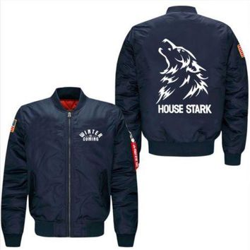 Men's leisure jacket collar code Air Force pilots Game of Thrones House Stark