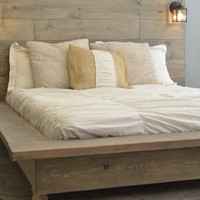 SALE! Floating Rustic Wood Platform Bedframe with Lighted Headboard