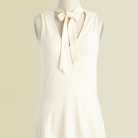 Bold-Faced Tie Tank Top in Ivory   Mod Retro Vintage Short Sleeve Shirts   ModCloth.com