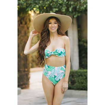Dana Palm Print High Waist Bikini Bottom