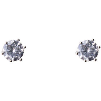 Cubic Zirconia Earrings Round Silver Plated Stud