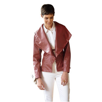 CATHERINE FAUX LEATHER RED DRAPED JACKET