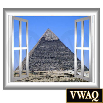 Pyramid at Giza Window Frame View 3d Wall Art Egypt Pyramids VWAQ® GJ100