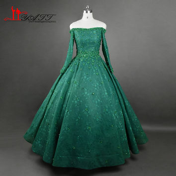 Luxury 2017 New Arrival Evening Dresses Dark Green Long Sleeves Puffy Ball Gown Arabic Vintage Crystal 3D Flowers Prom Gown