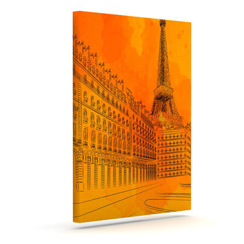 "Fotios Pavlopoulos ""Parisian Sunsets"" Orange City Outdoor Canvas Wall Art"