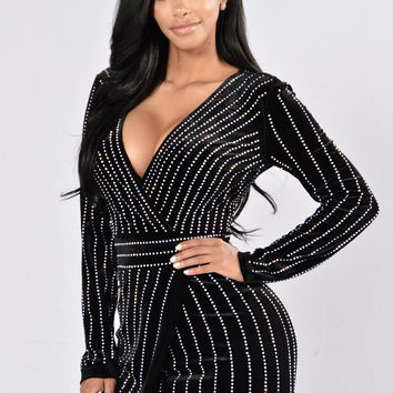 Black Stripe Patterned Beaded Dress