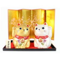 Lucky Cat Gold and White Display Set