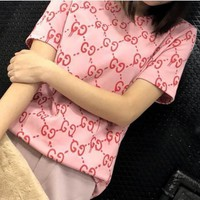 Gucci Popular Women Round Collar Letter Print Pullover Top T-Shirt Blouse Pink