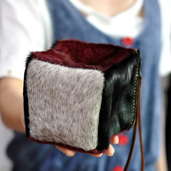 Leather makeup bag  Pony Fur CUBE Bag