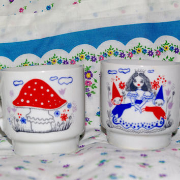 Soviet vintage ceramic set of 2 mugs / Made in Poland Walbrzych/ hand printed toadstool and Snow White and Dwarfs glazed USSR Children's Cup