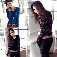New Women Fashion Vintage Lace Long Sleeve Slim Shirt Tops T-Shirt Blouse  7_S (Color: Black) = 1919619396