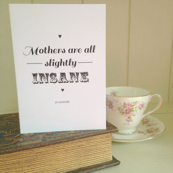 Literary Quote Mothers Day Card