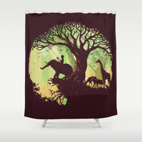 The jungle says hello Shower Curtain by Budi Satria Kwan