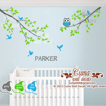 Baby boy wall decal name wall decals nursery Owl Birds Tree wall decal - 2 parts branch with birds Z213 cuma