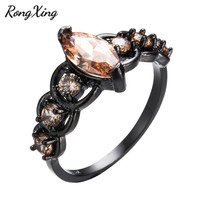 RongXing Champagne Horse Eye Stone Rings For Women Wedding Party Jewelry Vintage Black Gold Filled Female Engagement Ring RB1187