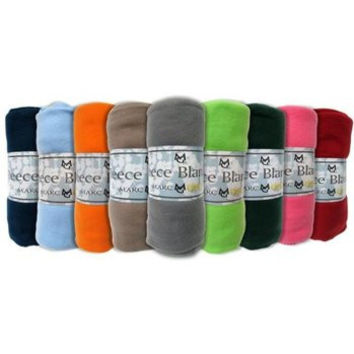 "FLEECE BLANKET- ASSORTED COLORS 50"" x 60"""